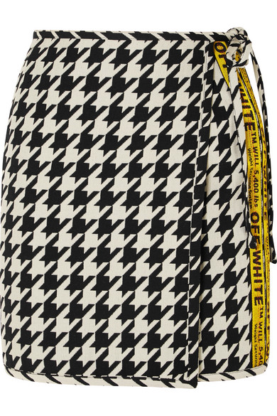 Houndstooth Wool Blend Wrap Mini Skirt by Off White