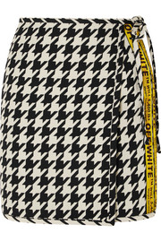 Off-White Houndstooth wool-blend wrap mini skirt