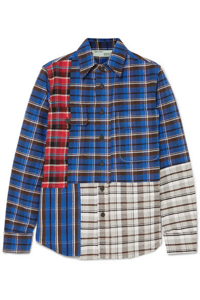 Off-White - Printed Checked Cotton-blend Flannel Shirt - Blue