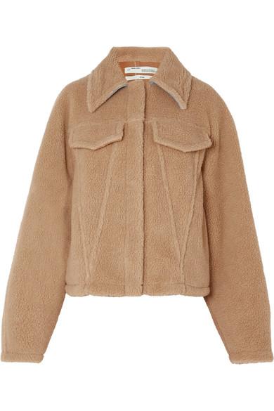 OFF-WHITE Bear denim-trimmed faux shearling jacket