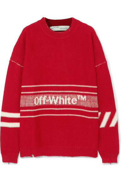 b3f6d99967 Off-White. Oversized distressed embroidered intarsia wool sweater