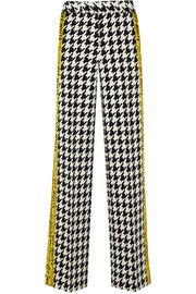 Off-White Appliquéd houndstooth wool-blend wide-leg pants