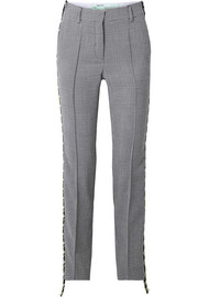 Houndstooth canvas-trimmed wool straight-leg pants