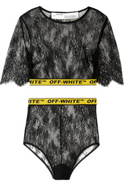 Off-White Cropped canvas jacquard-trimmed lace top and briefs set