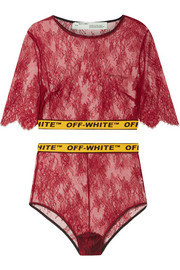 Cropped canvas jacquard-trimmed lace top and brief set