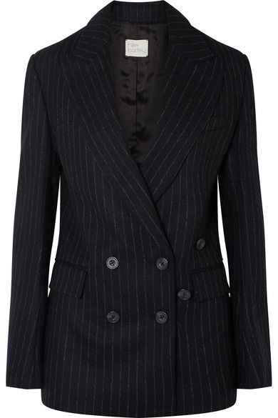 HILLIER BARTLEY DOUBLE-BREASTED PINSTRIPED WOOL-FELT BLAZER