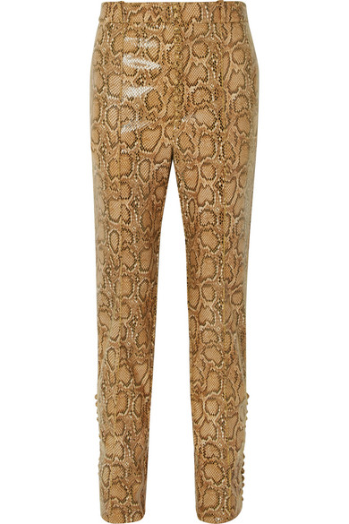 HILLIER BARTLEY SNAKE-EFFECT FAUX LEATHER STRAIGHT-LEG PANTS