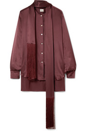 Hillier Bartley Fringed silk-satin shirt