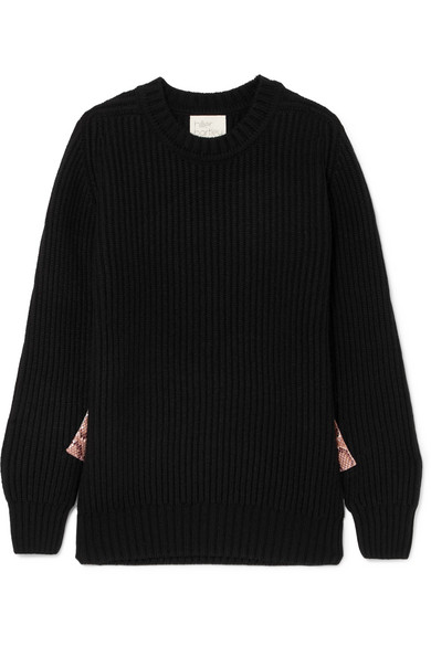 HILLIER BARTLEY SNAKE-EFFECT FAUX LEATHER-TRIMMED RIBBED CASHMERE SWEATER