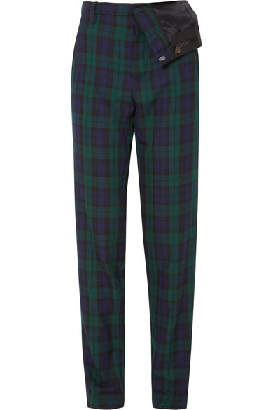 Y/PROJECT - Asymmetric Plaid Twill Straight-leg Pants - Emerald