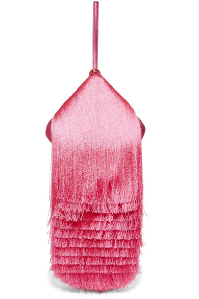 Hillier Bartley - Lantern Fringed Leather Clutch - Pink