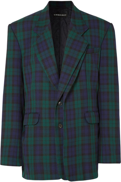 Y/PROJECT - Oversized Plaid Twill Blazer - Emerald