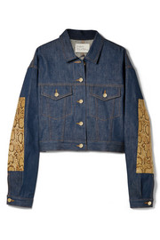 Oversized snake-effect leather-trimmed denim jacket