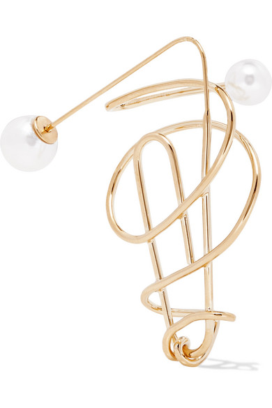 HILLIER BARTLEY GOLD-PLATED FAUX PEARL EARRING
