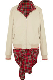 Y/PROJECT Oversized layered twill and tartan cotton bomber jacket