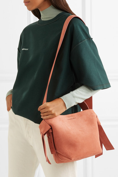 Musubi Mini Knotted Suede Shoulder Bag by Acne Studios
