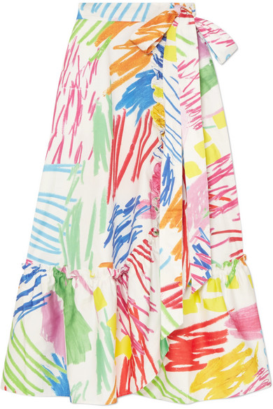 Printed Stretch-Cotton Wrap Skirt, White