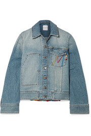 Fringed embroidered denim jacket