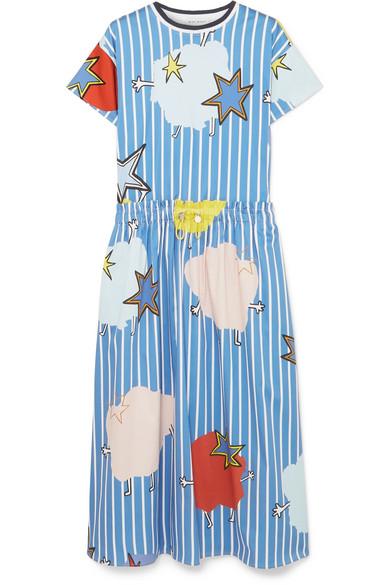 Printed Cotton-Blend Sateen Dress, Blue