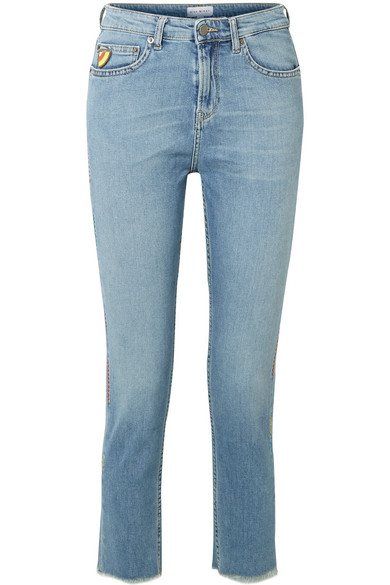 Mira Mikati - Cropped Embroidered High-rise Straight-leg Jeans - Blue