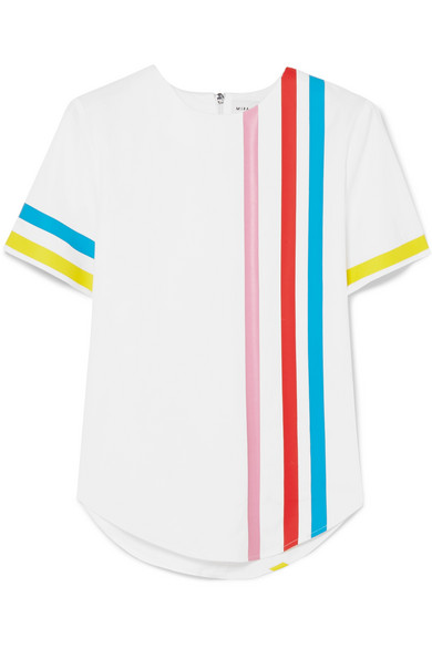Striped Cotton-Blend Top in White