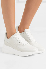 Alexander McQueen Smooth and textured-leather exaggerated-sole sneakers