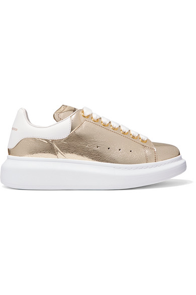 METALLIC CRACKED-LEATHER EXAGGERATED-SOLE SNEAKERS