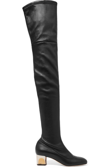 Stretch-Leather Over-The-Knee Boots in Black