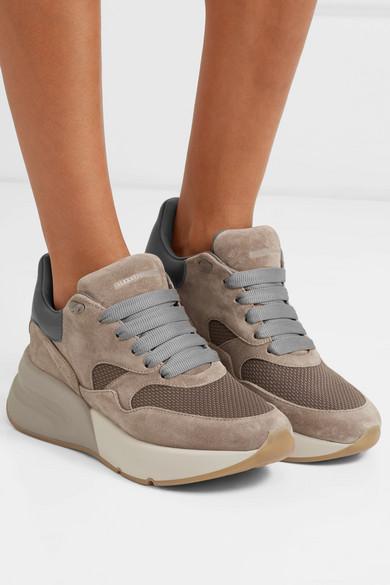Alexander McQueen Leder | Sneakers aus Veloursleder, Leder McQueen und Mesh mit überstehender Sohle e33083