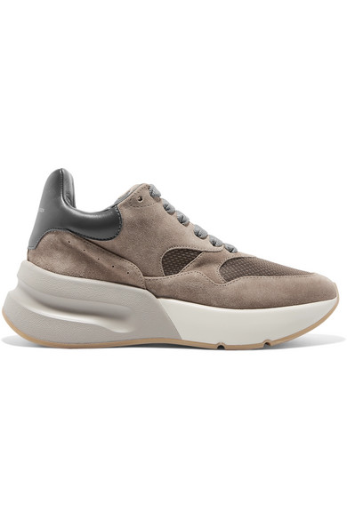 Suede, Leather And Mesh Exaggerated-Sole Sneakers, Smoke/ Beige