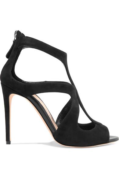 Cutout Suede Sandals in Black