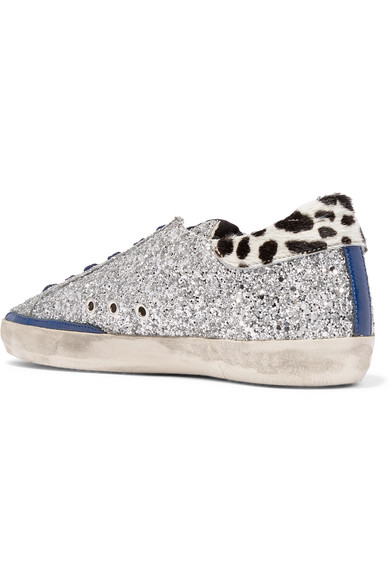 Golden Superstar Goose Deluxe Brand | Superstar Golden Sneakers aus Leder in Distressed-Optik mit Glitter-Finish und Kalbshaar daedea