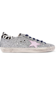 Golden Goose Deluxe Brand Superstar calf hair-trimmed distressed glittered leather sneakers