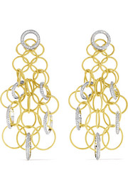 Hawaii 18-karat yellow and white gold diamond earrings