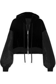 Oversized paneled silk-velvet and shell hoodie
