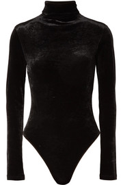 Unravel Project Stretch-velour turtleneck bodysuit