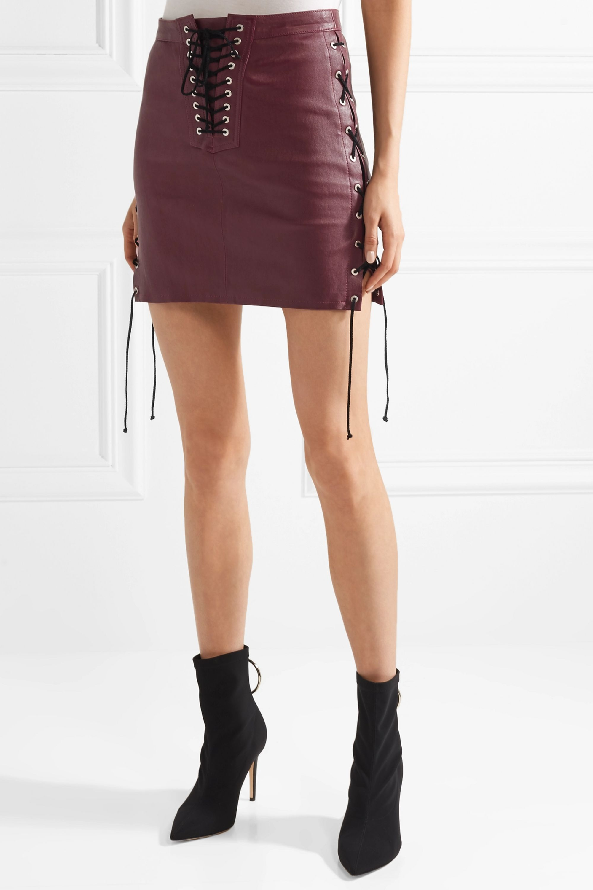 Unravel Project Lace-up leather mini skirt