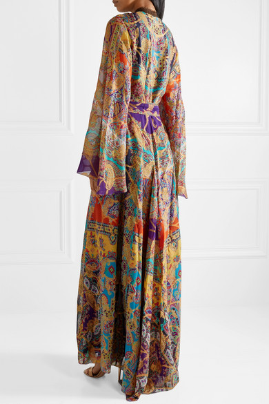 Etro Dress Lace-trimmed fil coupé silk-blend chiffon maxi dress