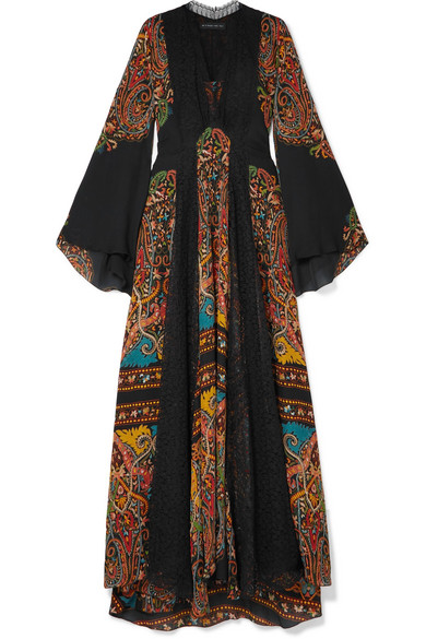 V-Neck Flared-Sleeve Damask-Print Silk Long Gown W/ Lace Insets in Black