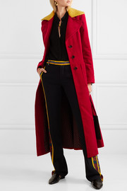Faux shearling-trimmed cotton-corduroy coat