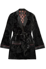 Etro Satin-trimmed printed velvet jacket
