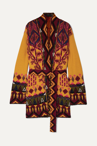 ETRO Belted Cardigan In Wool And Cashmere in Yellow