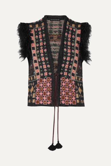 Etro - Faux Fur-trimmed Jacquard-knit Vest - Black