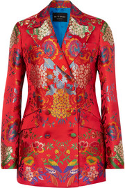 Etro Double-breasted floral satin-jacquard blazer