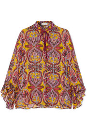 Ruffled printed silk-crepon blouse