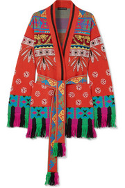 Fringed wool-blend jacquard cardigan