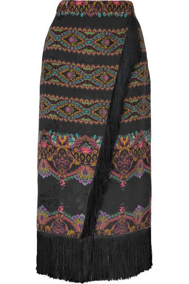Etro Skirts Wrap-effect fringed printed jacquard midi skirt