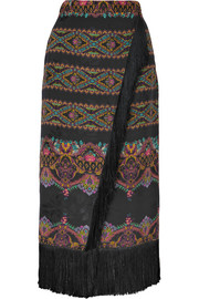 Etro Wrap-effect fringed printed jacquard midi skirt
