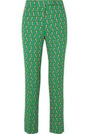 Printed cropped crepe slim-leg pants