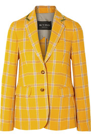 Etro Velvet-trimmed checked wool blazer
